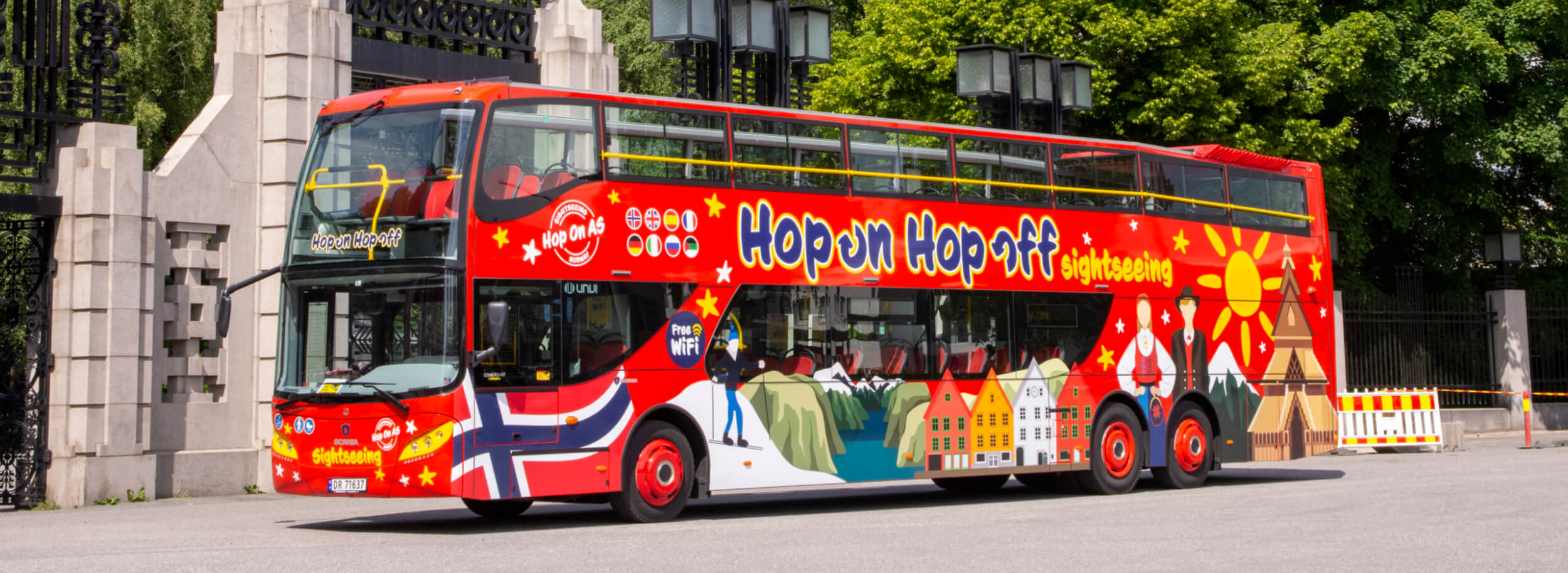 Hop On Hop Offf Sightseeing bus parked outside of Frognerparken