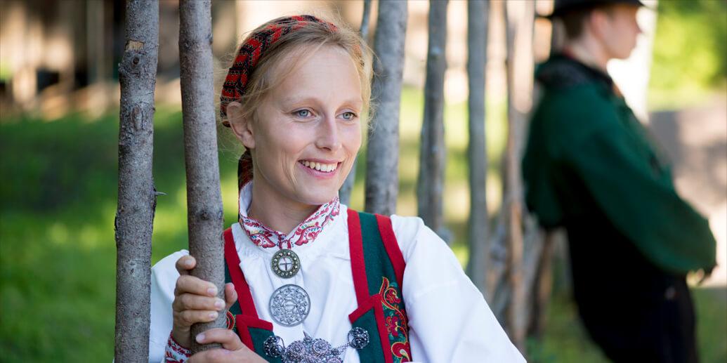 Girl with norwegian folk dress